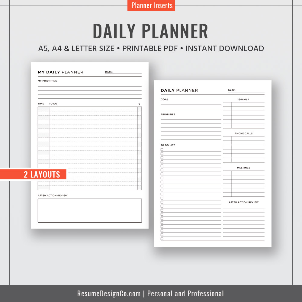 Daily Planner A4 A5 Letter Size Filofax A5 Planner Pdf Planner Design Planner Refills Planner Inserts Printable Planner Instant Download Resumedesignco Com