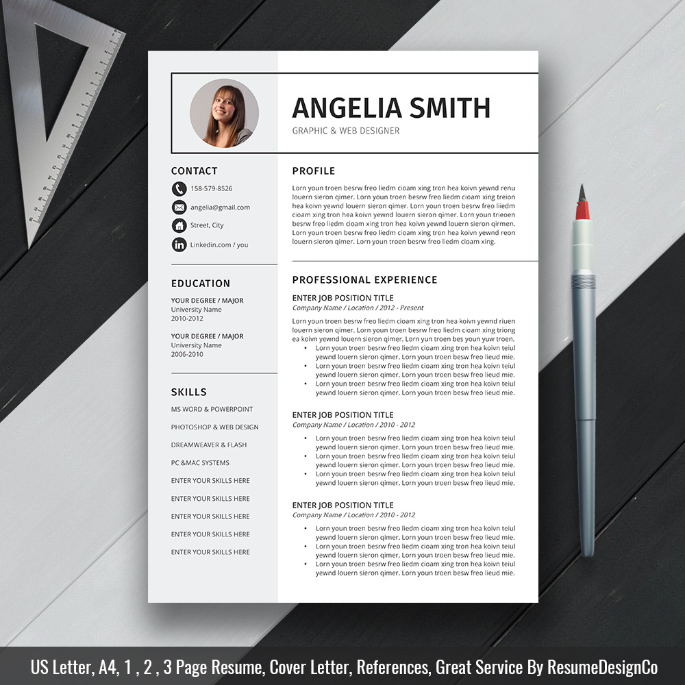 Modern And Simple Resume Cv Template For Ms Word Curriculum