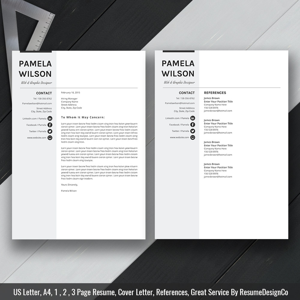 Professional Resume Template Ms Word Modern Cv Template Design Creative Resume Layout Teacher Resume Format 1 3 Page Resume Cover Letter And References Template Resumedesignco Com