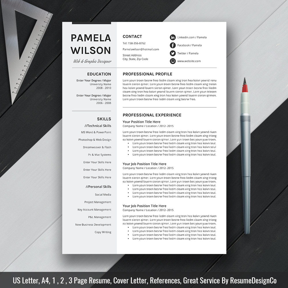 Professional Resume Template Ms Word Modern Cv Template Design