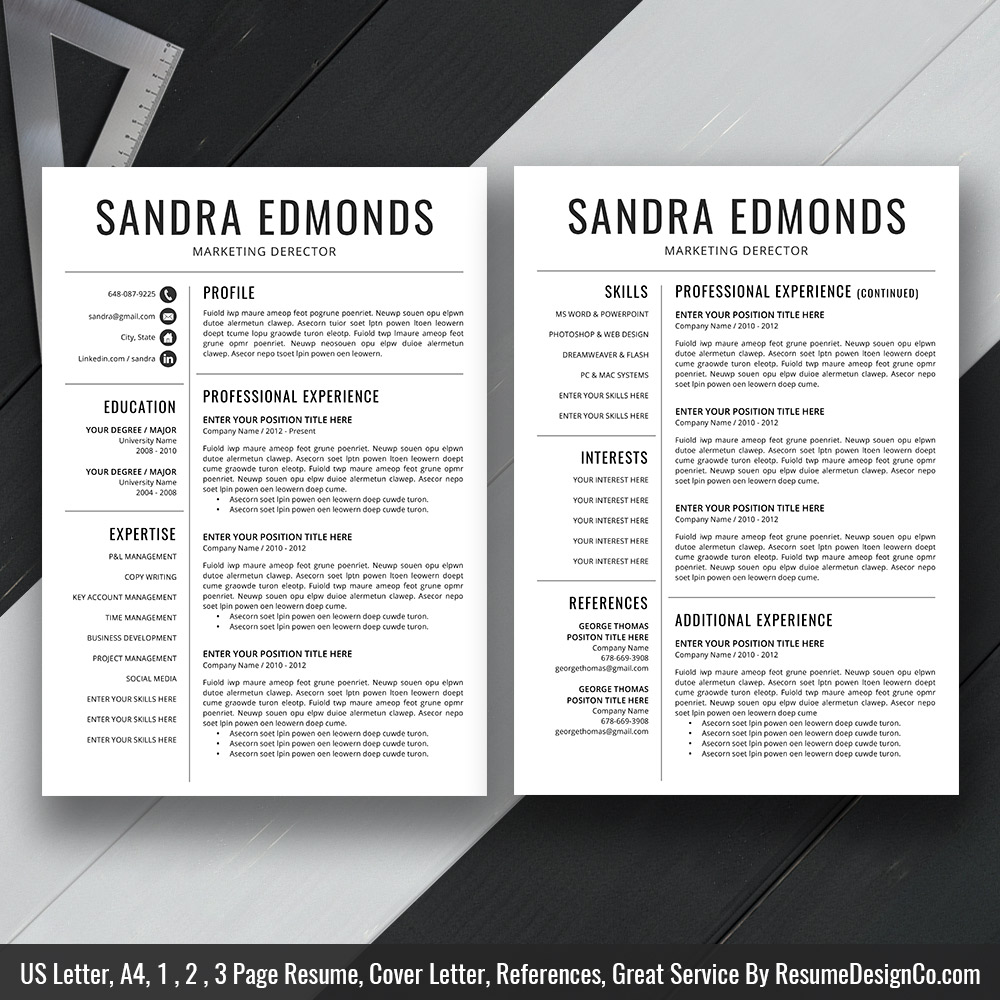 Simple Resume Cv Template For Ms Word Clean Resume Layout