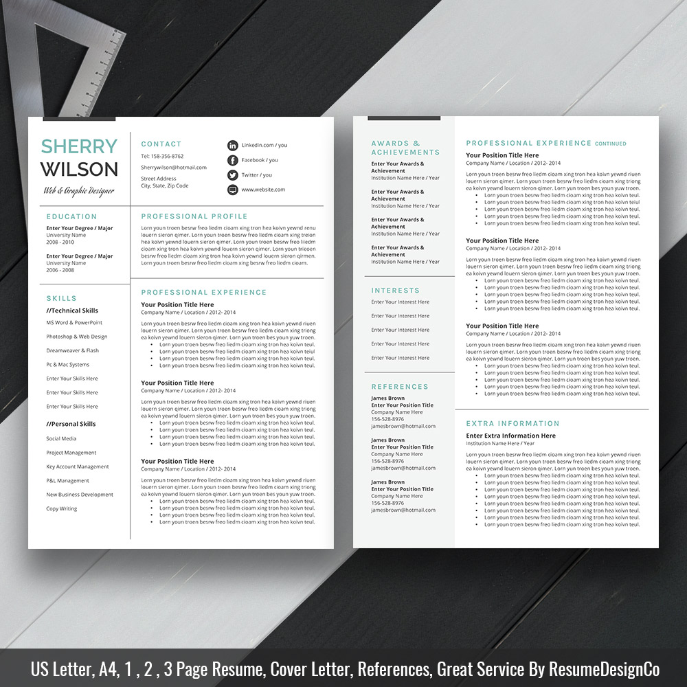 ms word resume template  cover letter and references