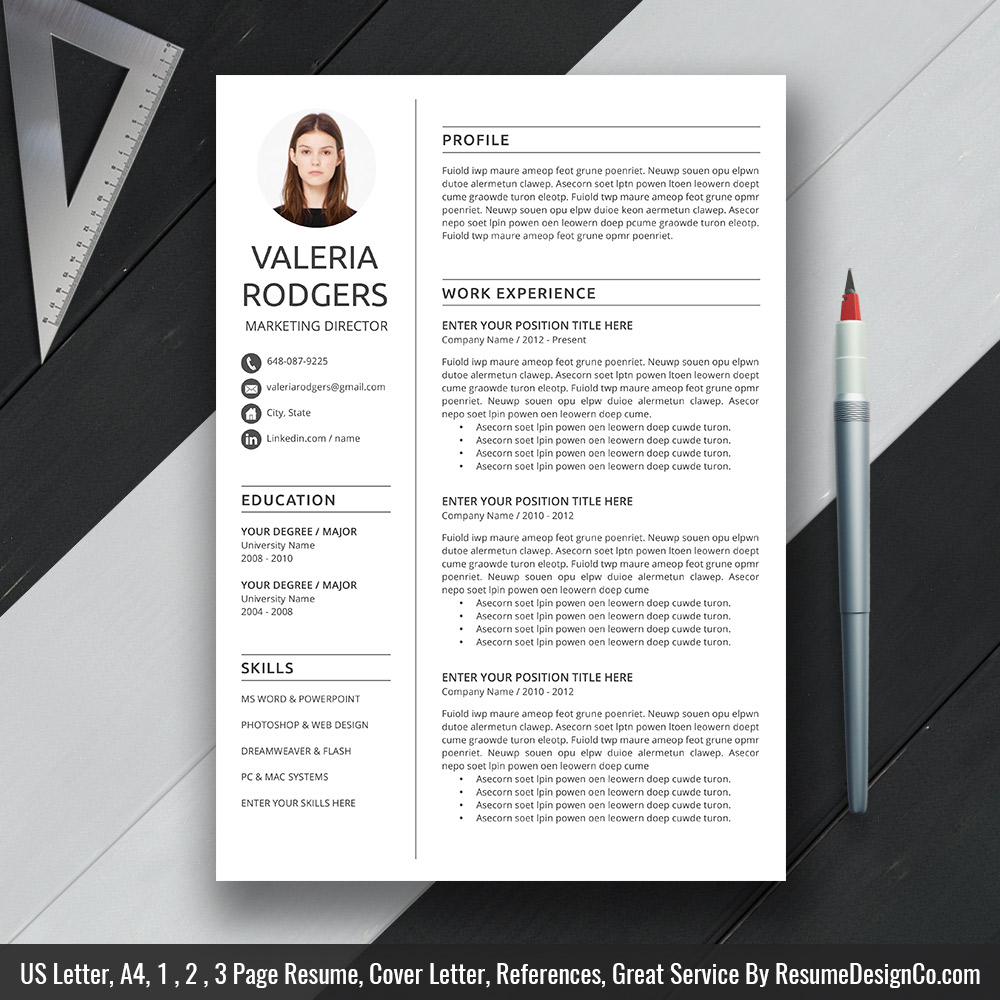 Modern And Professional Resume Template Ms Word Cover Letter References Resume Fonts Icons Resume Editing Guide Fully Compatible With Ms Office For Mac Or Windows Desktop Resumedesignco Com